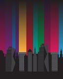 De gebouwen silhouetteren mooie heldere kleurrijke citylights royalty-vrije illustratie