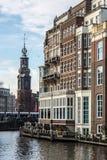 De Gebouwen van Amsterdam stock afbeeldingen