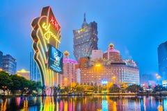De gebouwen van casino in Macao, China Stock Afbeeldingen