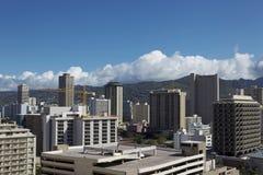 De gebouwen van de binnenstad in de Dag van Hawaï Stock Foto