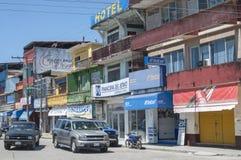 De gebouwen van de binnenstad in Mexicaanse stad stock afbeelding