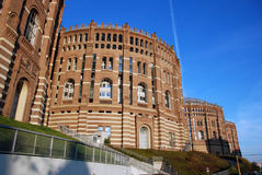 De gebouwen van de gasmeter in Wenen Stock Afbeelding