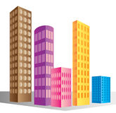 De gebouwen van de wolkenkrabber Stock Foto