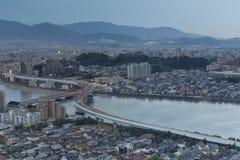 De gebouwen van Fukuoka, van Japan cityscape en het bureau royalty-vrije stock foto