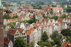De gebouwen van Gdansk van hierboven Stock Afbeelding