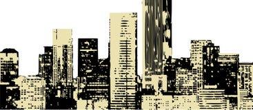 De gebouwen van Grunge stlye royalty-vrije illustratie