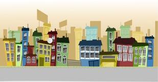 De gebouwen van het beeldverhaal Stock Fotografie