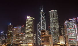 De gebouwen van het bureau bij nacht. Hongkong Royalty-vrije Stock Afbeeldingen