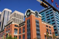 De gebouwen van het bureau in Calgary de stad in royalty-vrije stock foto