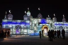 De Gebouwen van het ijs bij de Wereld van het Ijs en van de Sneeuw van Harbin in Harbin China Royalty-vrije Stock Foto