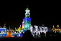 De Gebouwen van het ijs bij de Wereld van het Ijs en van de Sneeuw van Harbin in Harbin China Royalty-vrije Stock Afbeelding