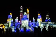 De Gebouwen van het ijs bij de Wereld van het Ijs en van de Sneeuw van Harbin in Harbin China Royalty-vrije Stock Foto's