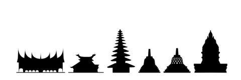 De gebouwen van Indonesië stock illustratie