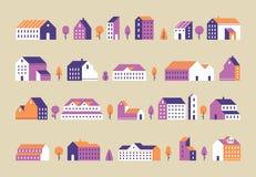 De gebouwen van de Minimalismstad Geometrische minimale woonhuizen, de stadsbouw en stedelijke huis vlak vectorreeks royalty-vrije illustratie