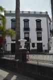 De gebouwen van Santa Cruz De La Palma Decorated voor de Afdaling van de Maagdelijke Festiviteit vierden Om de Vijf Jaar reis, aa stock foto's