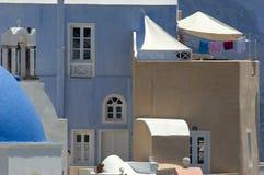 De gebouwen van Santorini Stock Foto's
