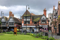 De gebouwen van Tudor in straat Werburgh. Chester. Engeland royalty-vrije stock foto's
