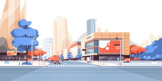 De gebouwen van de de wegwolkenkrabber van de stadsstraat bekijken modern cityscape aanplakbord van de binnenstad adverterend hor stock illustratie