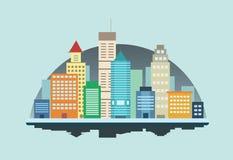 De Gebouwen Vectorillustratie Front View van de nachtstad royalty-vrije illustratie