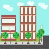 De gebouwen vlakke illustratie van de stadsstraat stock illustratie