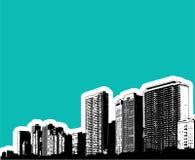 De gebouwenillustratie van de stad Stock Foto