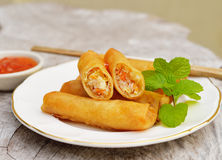De gebraden Chinese Traditionele Lente rolt voedsel royalty-vrije stock foto's