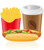 De gebraden gerechtenaardappel van de hotdog en document kop met koffie Royalty-vrije Stock Afbeelding