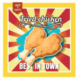 De gebraden kip van het restaurant Snelle Voedsel menu op mooie achtergrond Stock Afbeeldingen