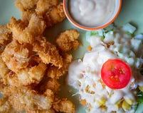 De gebraden Salade van Vissen Stock Foto's