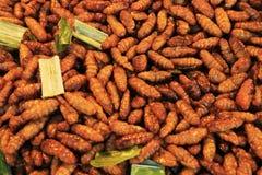 De gebraden wormen zijn straatvoedsel stock afbeelding