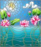De gebrandschilderd glasillustratie met een waterlandschap, Lotus bloeit tegen de achtergrond van de vijver, de hemel en de zon stock illustratie