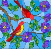 De gebrandschilderd glasillustratie met twee twee heldere rode vogels op de wilde takken van het bloeien nam op een achtergrondhe stock illustratie