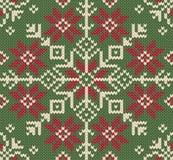 De gebreide achtergrond van Kerstmis. Noordse stijl. Royalty-vrije Stock Afbeeldingen