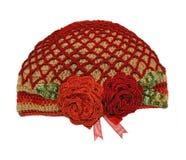 De gebreide met de hand gemaakte hoed van vrouwen Stock Foto's