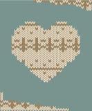 De gebreide vectorillustratie van de hartkaart Stock Afbeelding