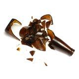 De gebroken Fles van het Bier Stock Fotografie