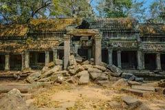 De gebroken ruïne op de tempelgebied van Ta prohm in siem oogst Kambodja stock foto