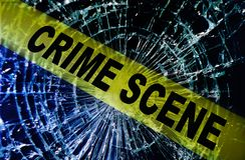 De gebroken scène van de venstermisdaad Stock Afbeeldingen
