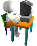 De gebruiker van de computer gebruikt 3D zijaanzicht van beeldverhaalPC Royalty-vrije Stock Foto