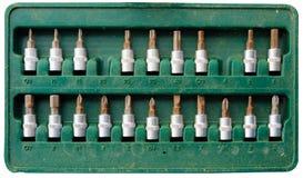 De gebruikte die doos van het schroevedraaierblok met stof wordt geplaatst moet worden schoongemaakt royalty-vrije stock afbeelding