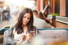 De geconcentreerde donkerbruine vrouwenberichten in online praatje, updatesprofiel in sociale netwerken, gebruiks modern elektron stock fotografie