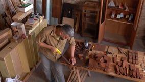 De geconcentreerde timmerman snijdt hout met een zaag stock video