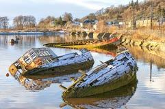 De gedaalde boten van het kegelen haven Royalty-vrije Stock Fotografie