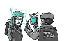 De gedachte Politie controleert hersenenaftasten royalty-vrije illustratie