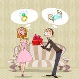 De gedachten van de Dag van de valentijnskaart Royalty-vrije Stock Afbeeldingen