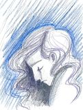 De gedeprimeerde illustratie van het vrouwenconcept vector illustratie