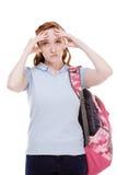 De gedeprimeerde jonge vrouw van studentCaucasian Stock Afbeelding