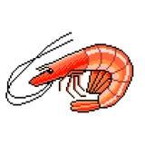 De gedetailleerde illustratie geïsoleerde vector van pixelgarnalen zeevruchten stock illustratie