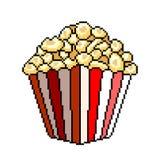 De gedetailleerde illustratie geïsoleerde vector van de pixelpopcorn emmer vector illustratie