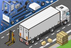 Isometrische Vrachtwagen Frigo in AchterMening Stock Afbeeldingen